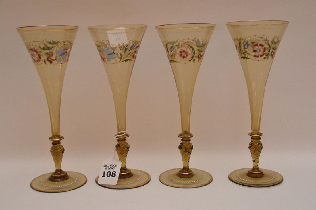 """Set of 4 enameled Venetian glass stems, 8 1/2""""h"""