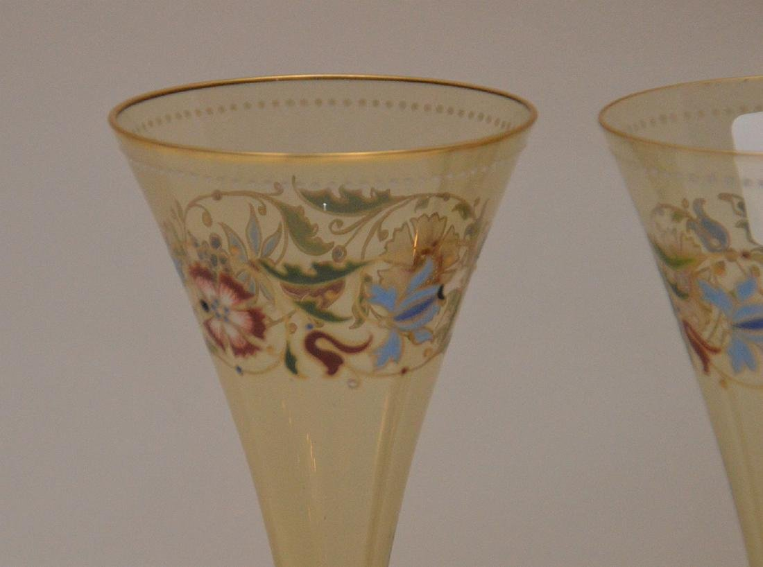 """Set of 4 enameled Venetian glass stems, 8 1/2""""h - 2"""