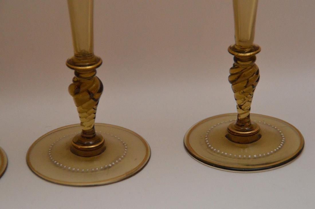 """Set of 4 enameled Venetian glass stems, 8 1/2""""h - 3"""