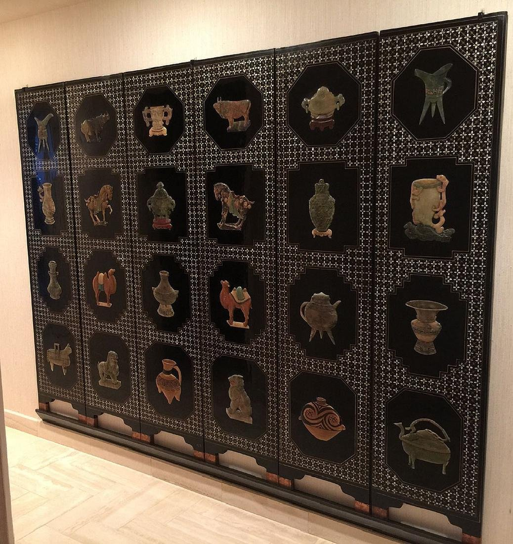 """Large Chinese screen with stone carvings, 72"""" x 97"""""""