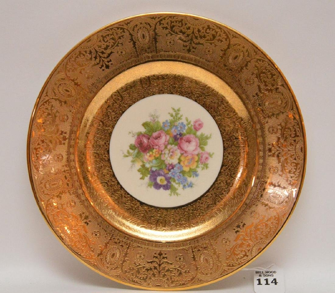 Set 12 Plates with gilt rims.  Condition: some gold is - 2