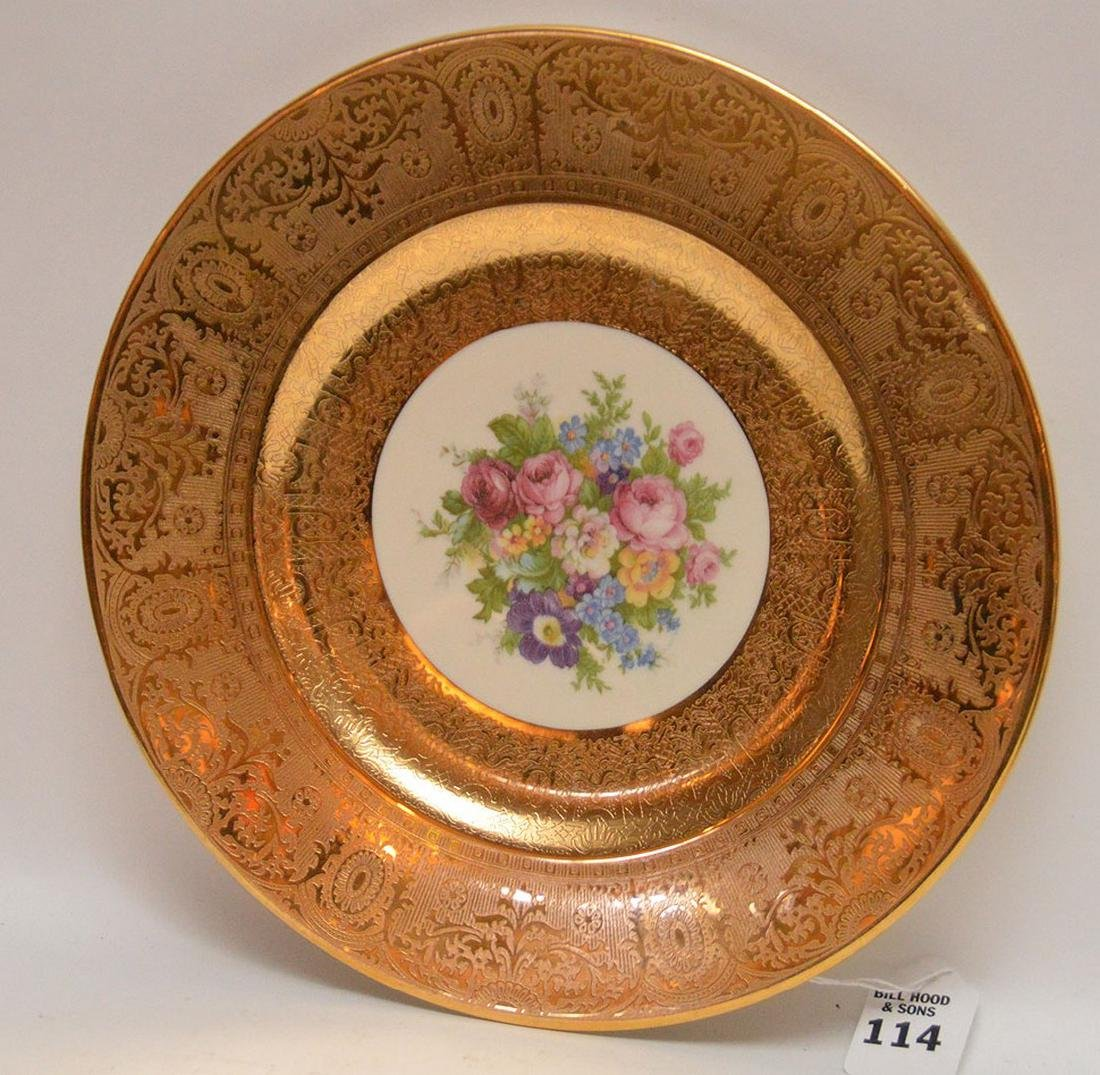 Set 12 Plates with gilt rims.  Condition: some gold is - 3