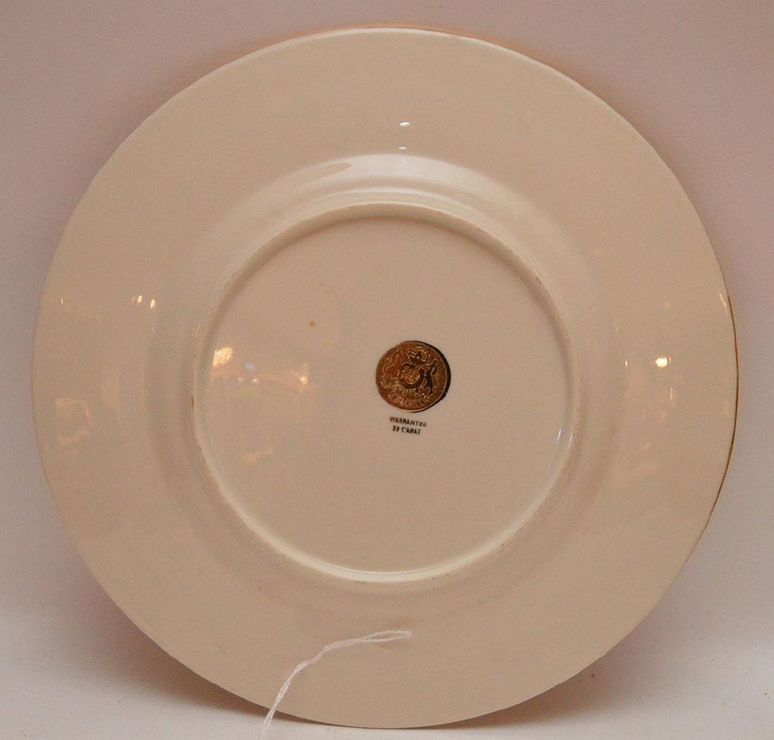 Set 12 Plates with gilt rims.  Condition: some gold is - 5