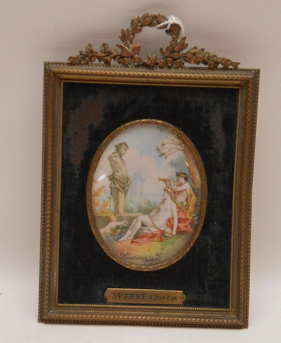 """Miniature Painting In Brass Frame.  7 1/4"""" x 3 3/4"""""""
