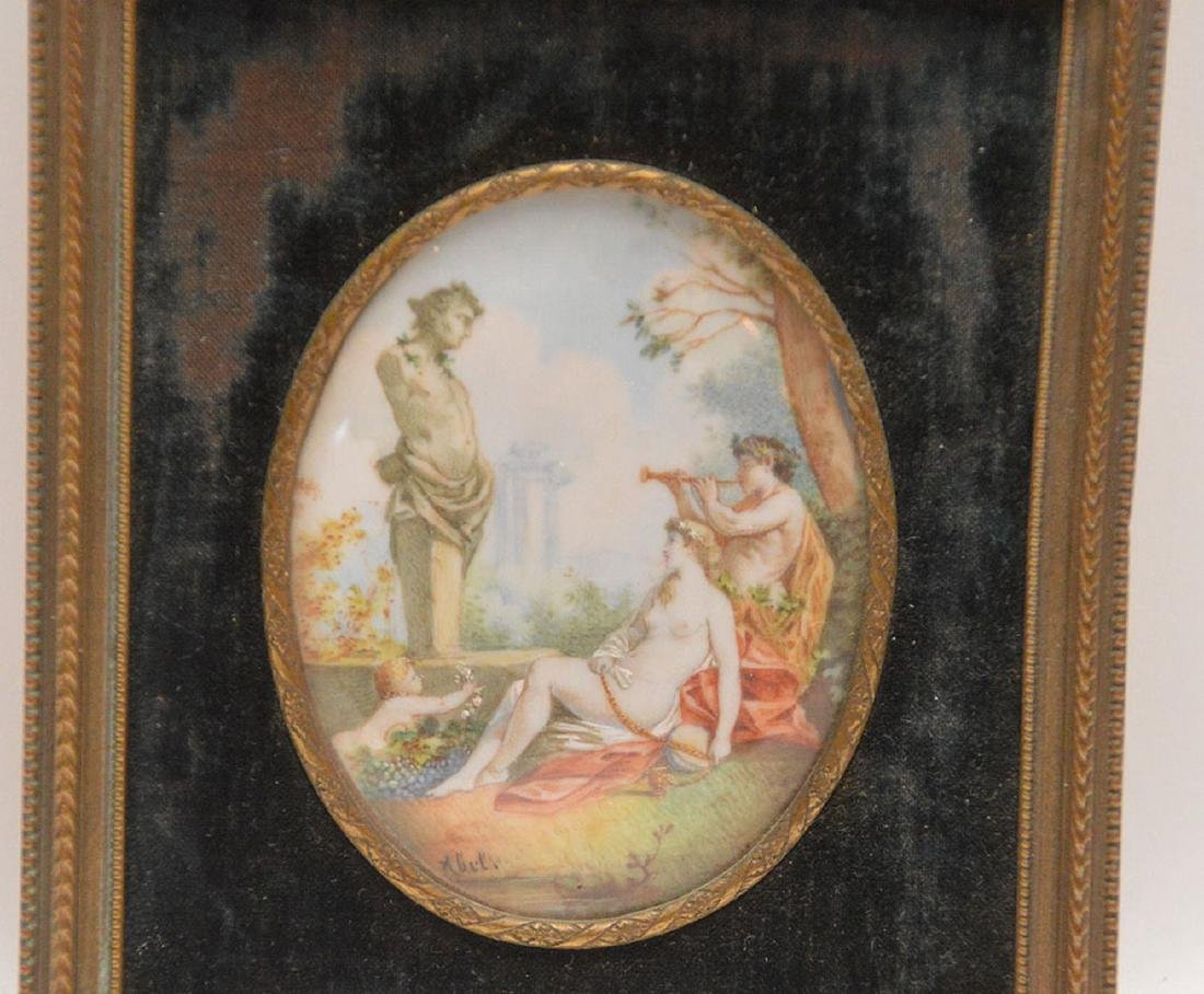 """Miniature Painting In Brass Frame.  7 1/4"""" x 3 3/4"""" - 2"""