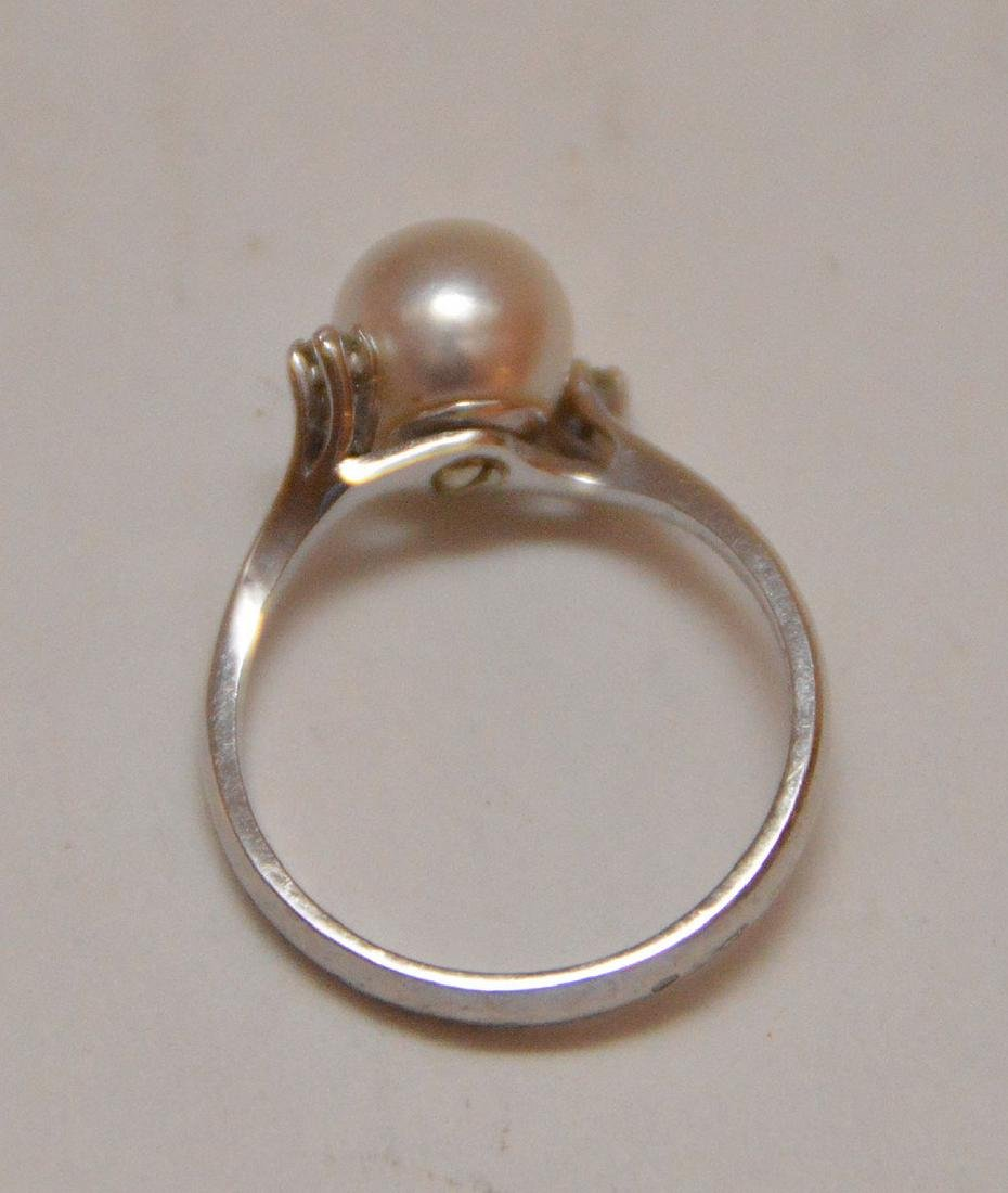 Pearl ring with 2 diamonds, 18kt white gold - 3