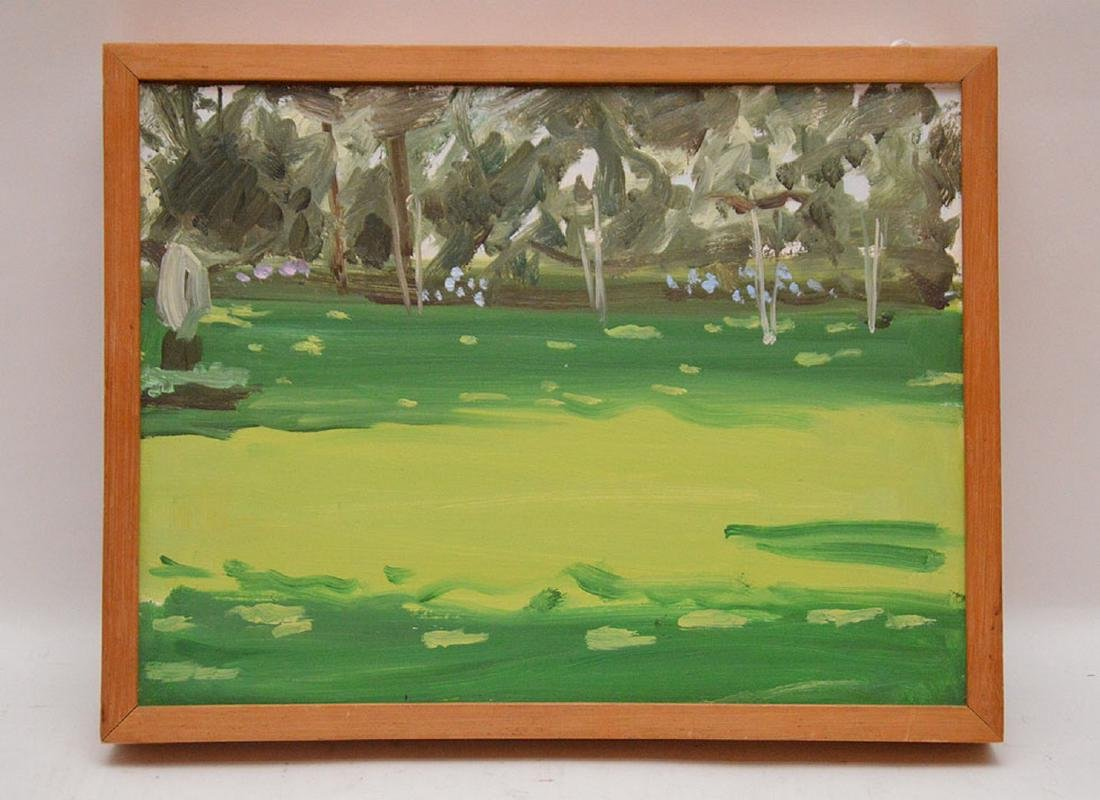"Alex Katz b. 1927, 1976, 9"" x 12"" oil landscape"