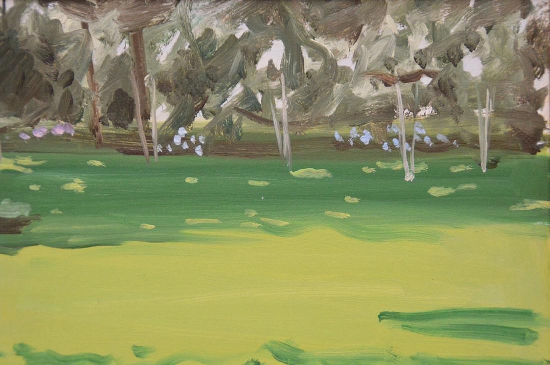 "Alex Katz b. 1927, 1976, 9"" x 12"" oil landscape - 2"