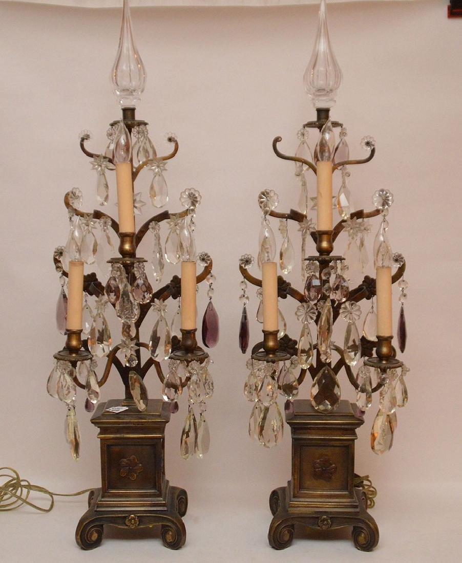 Pair French 3 light bronze & crystal girandoles on