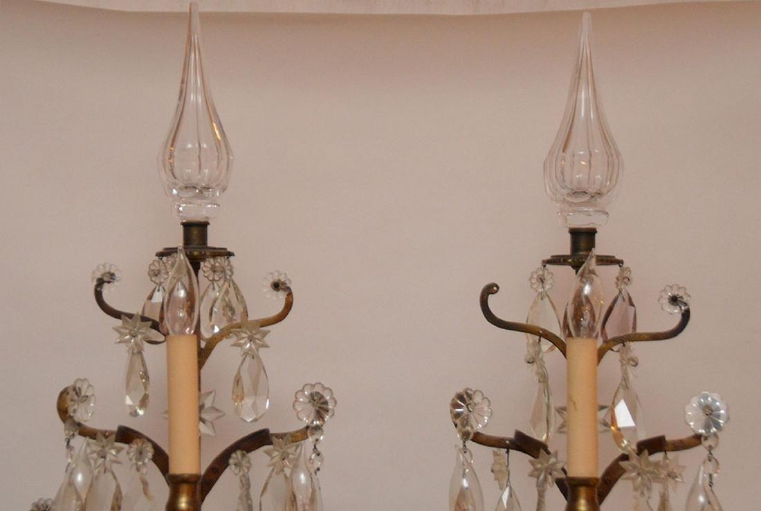 Pair French 3 light bronze & crystal girandoles on - 2