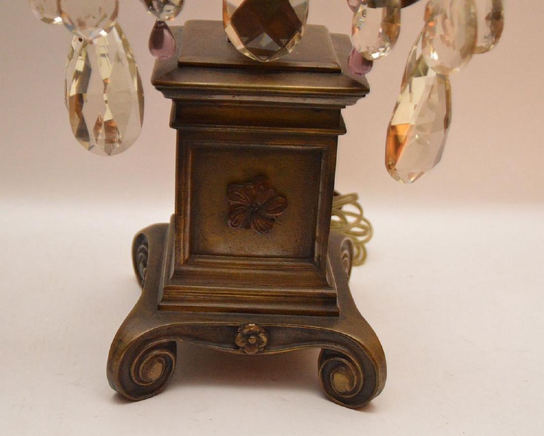 Pair French 3 light bronze & crystal girandoles on - 4