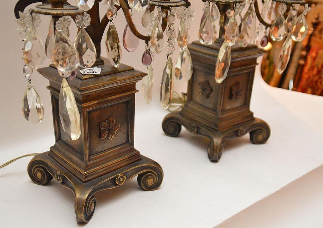 Pair French 3 light bronze & crystal girandoles on - 5