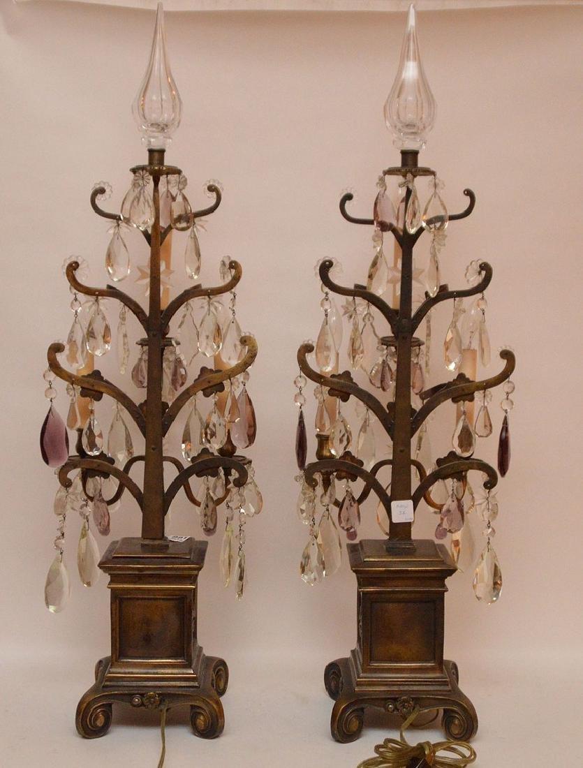 Pair French 3 light bronze & crystal girandoles on - 6