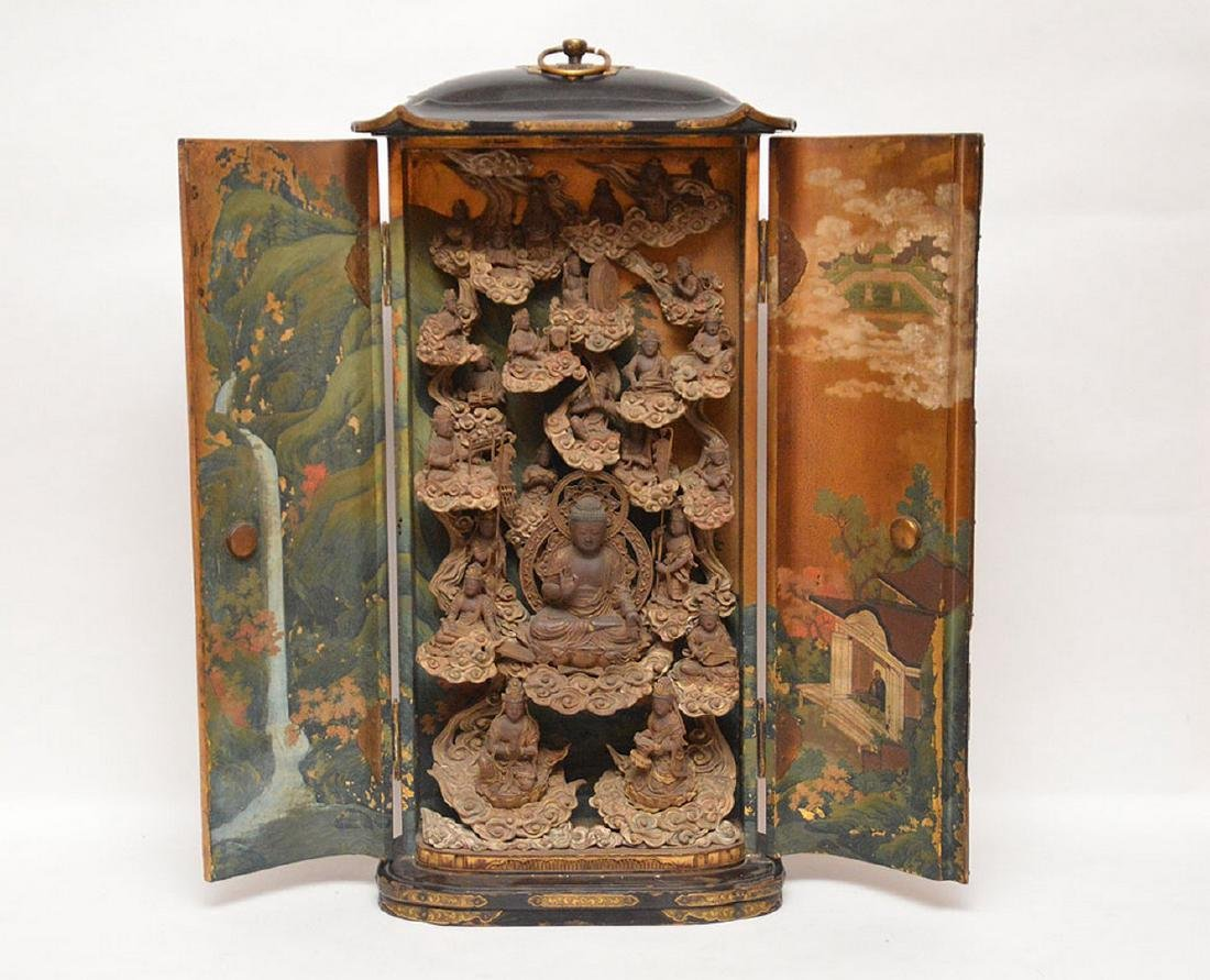 Japanese enclosed lacquered altar with brass fittings,