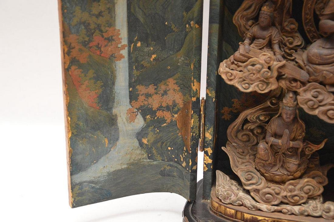 Japanese enclosed lacquered altar with brass fittings, - 9