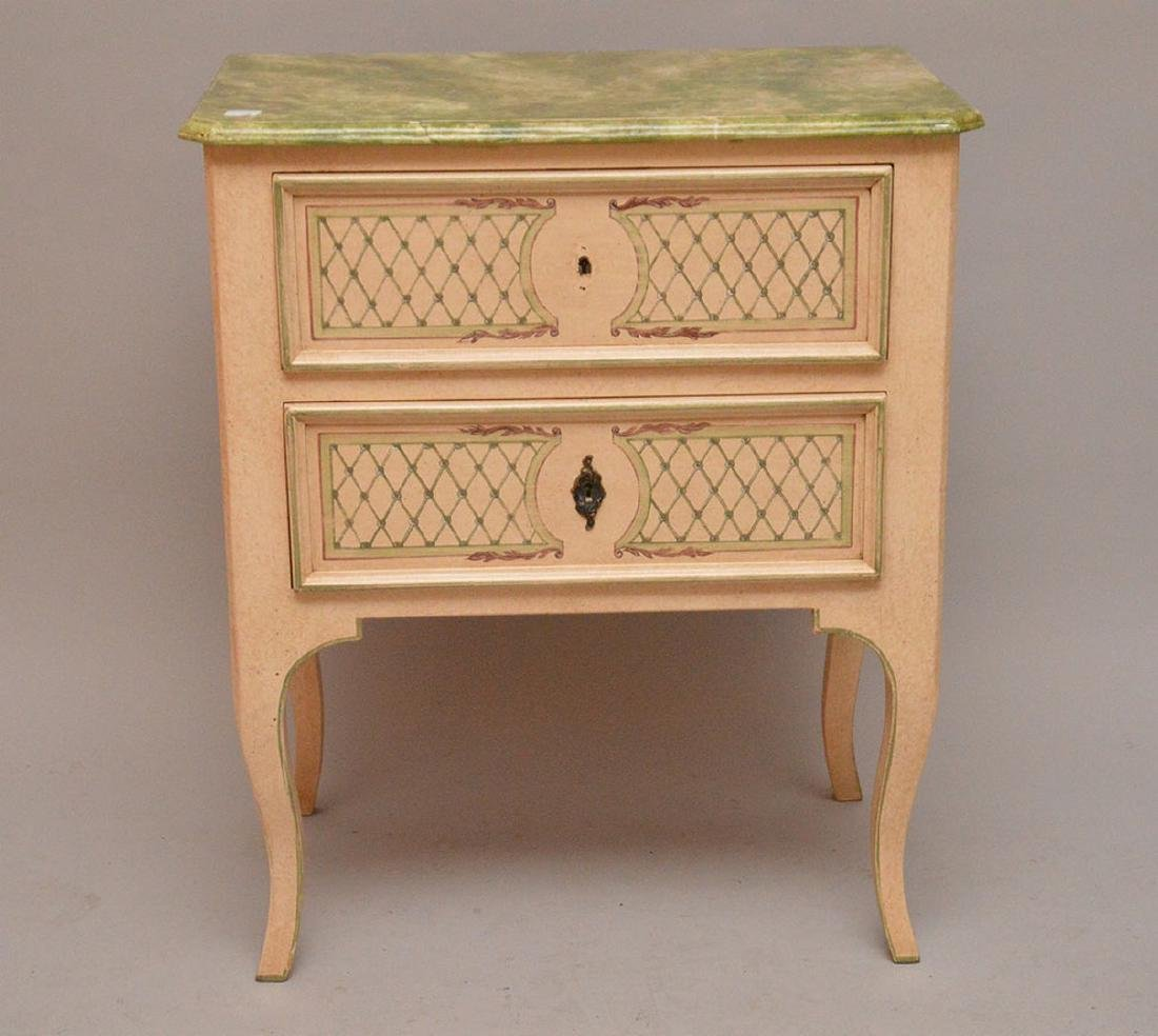"""2 drawer decorated end table, 27 5/8""""h x 24""""w x 15""""d"""