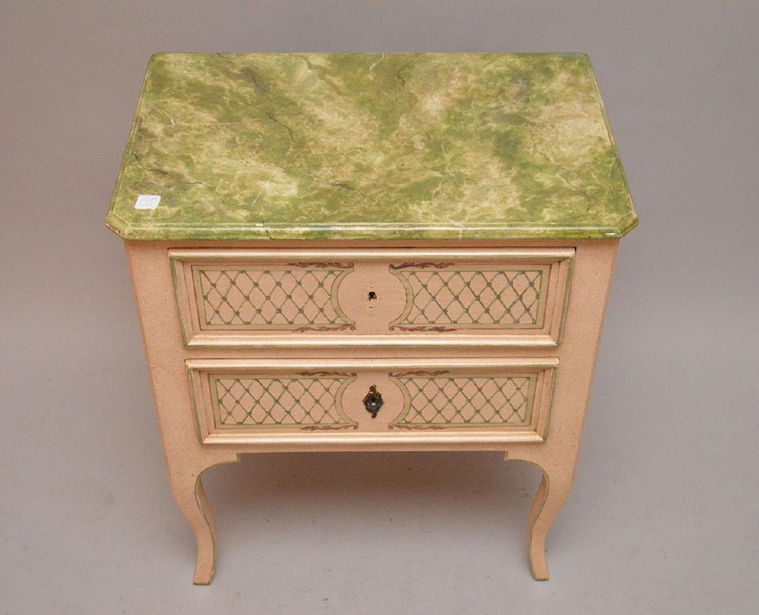 """2 drawer decorated end table, 27 5/8""""h x 24""""w x 15""""d - 3"""