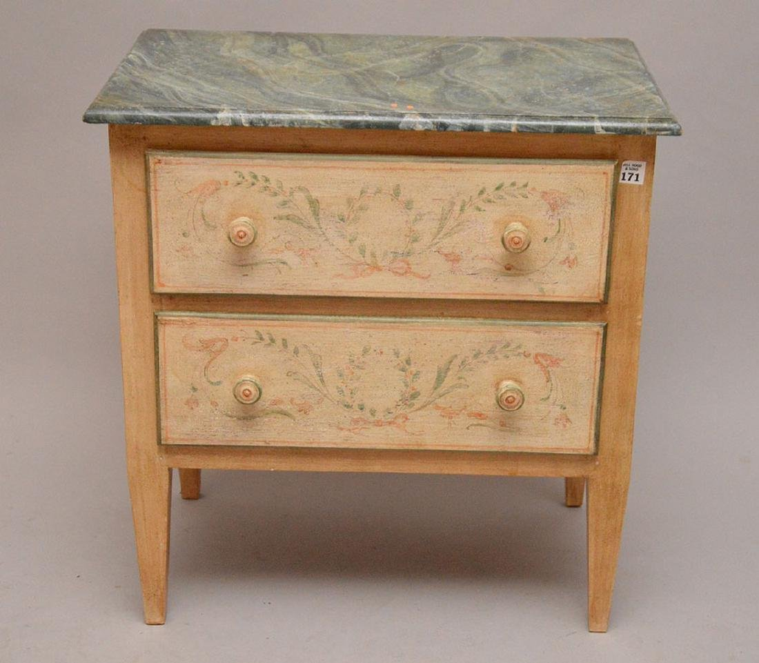 2 drawer end table, hand painted with faux painted