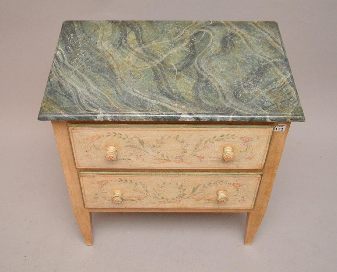 2 drawer end table, hand painted with faux painted - 3