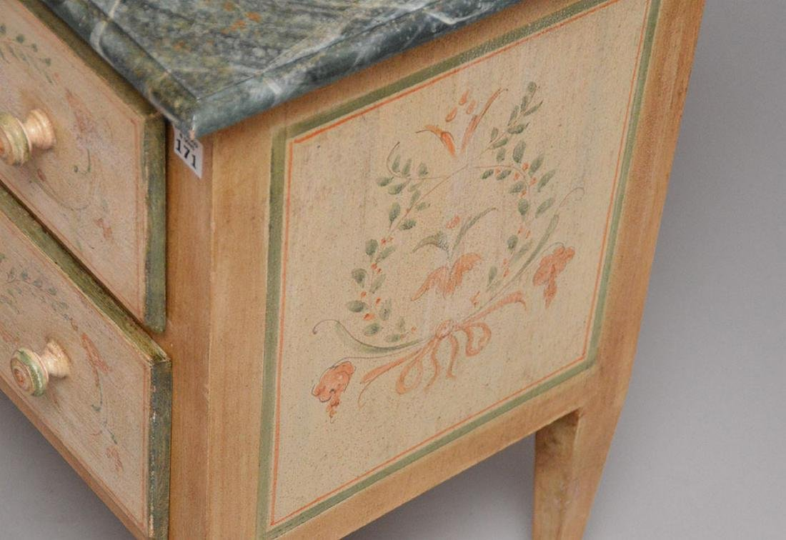 2 drawer end table, hand painted with faux painted - 4