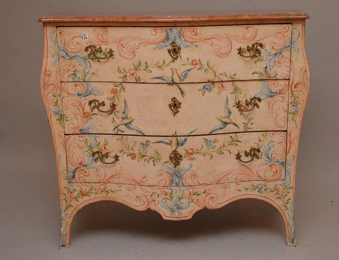 Bombay form 3 drawer painted commode with rose color