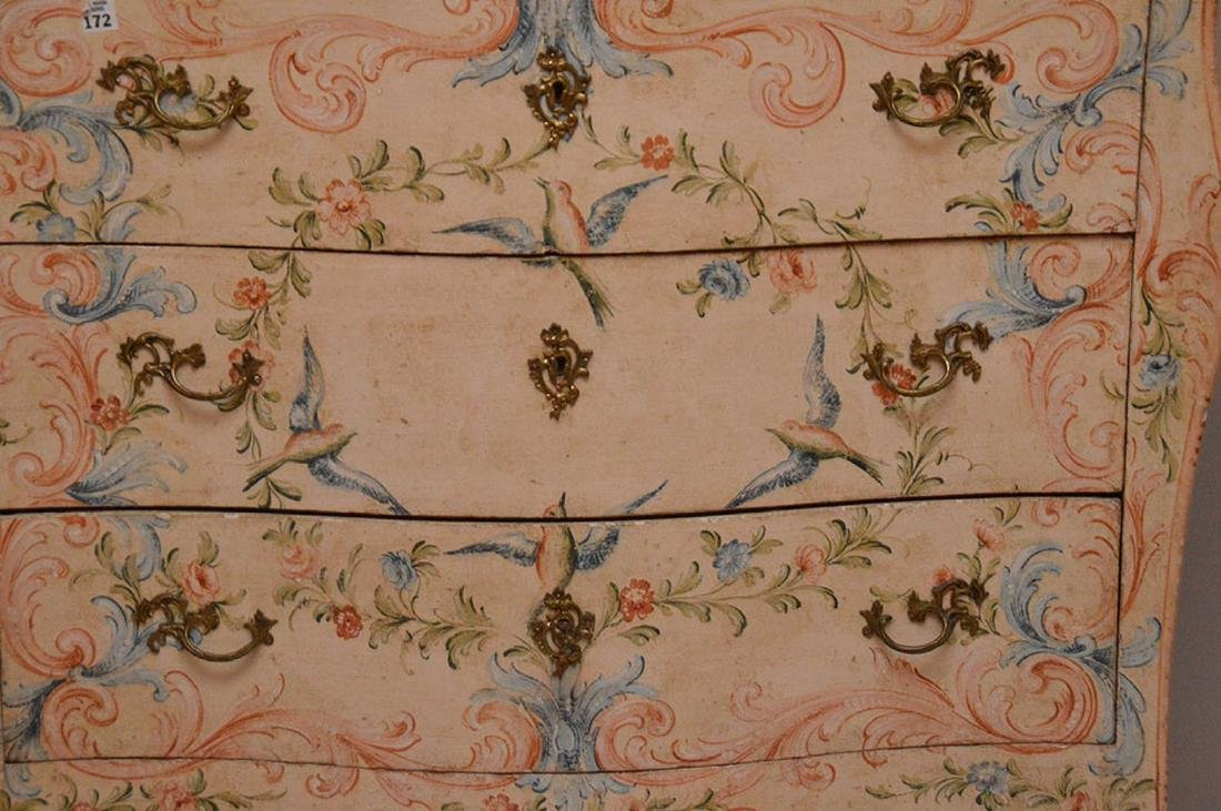 Bombay form 3 drawer painted commode with rose color - 2