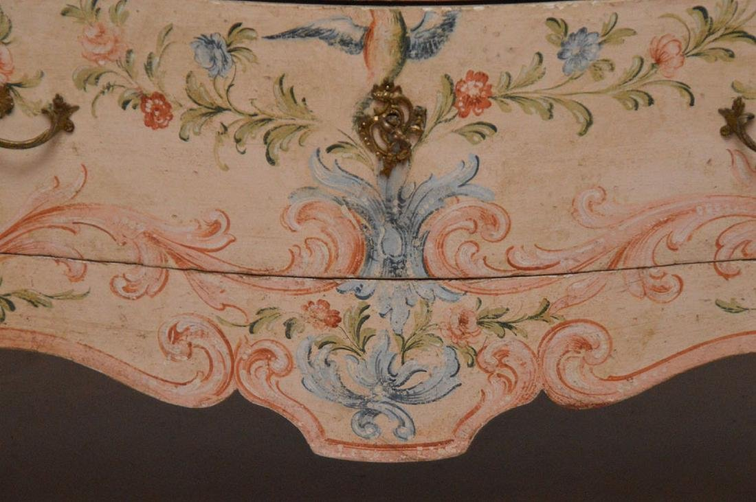 Bombay form 3 drawer painted commode with rose color - 3