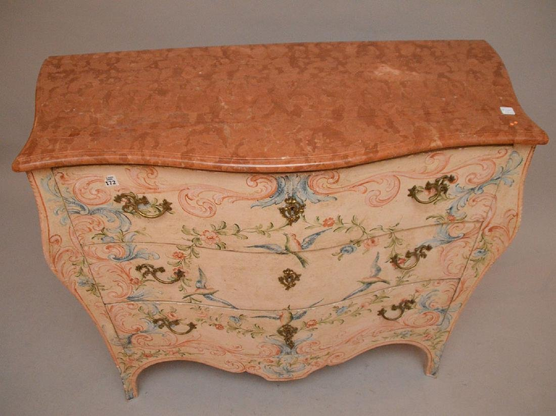 Bombay form 3 drawer painted commode with rose color - 4