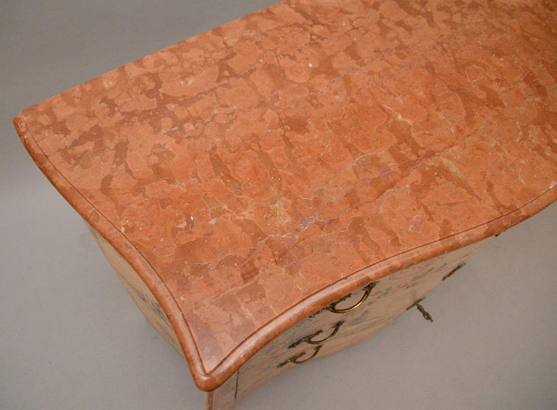 Bombay form 3 drawer painted commode with rose color - 5