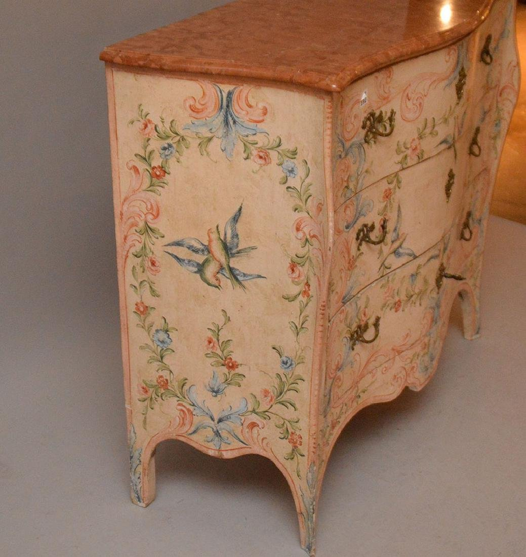 Bombay form 3 drawer painted commode with rose color - 6