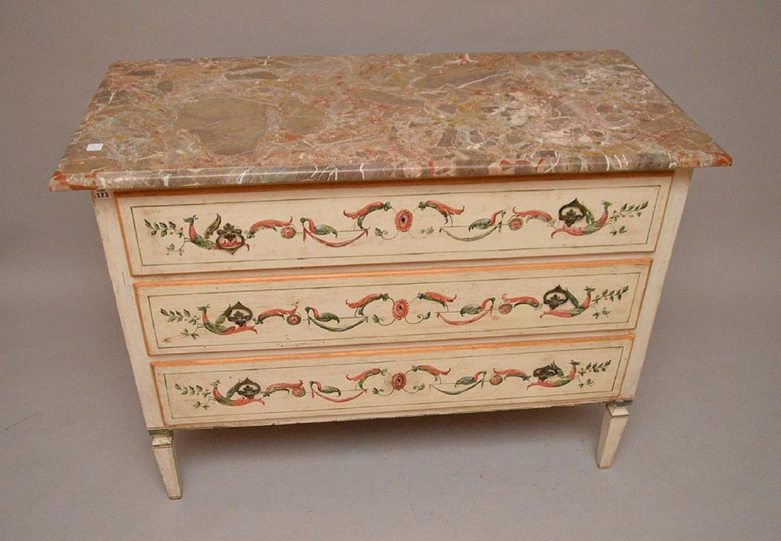 3 drawer painted commode with scrolling foliate design - 3