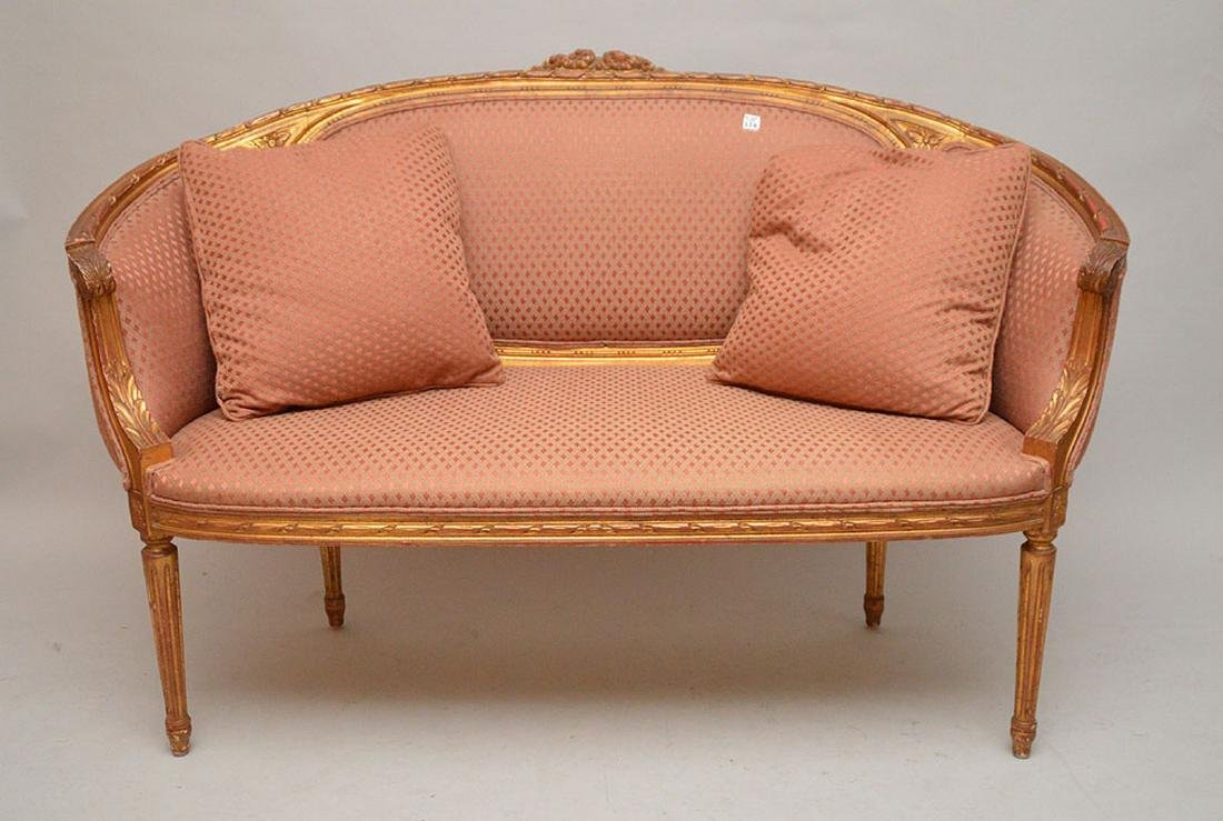 Carved gilded French frame settee, nicely upholstered,