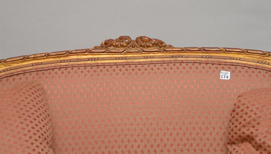 Carved gilded French frame settee, nicely upholstered, - 2