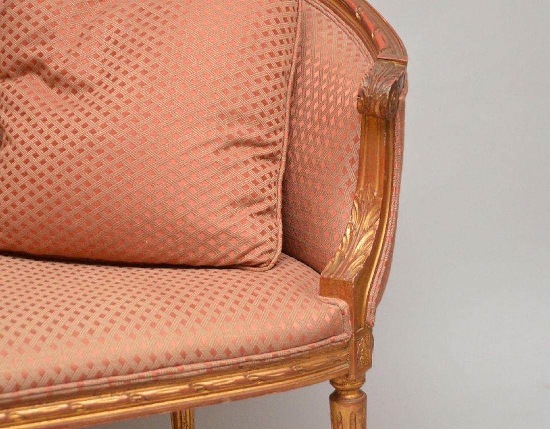Carved gilded French frame settee, nicely upholstered, - 3