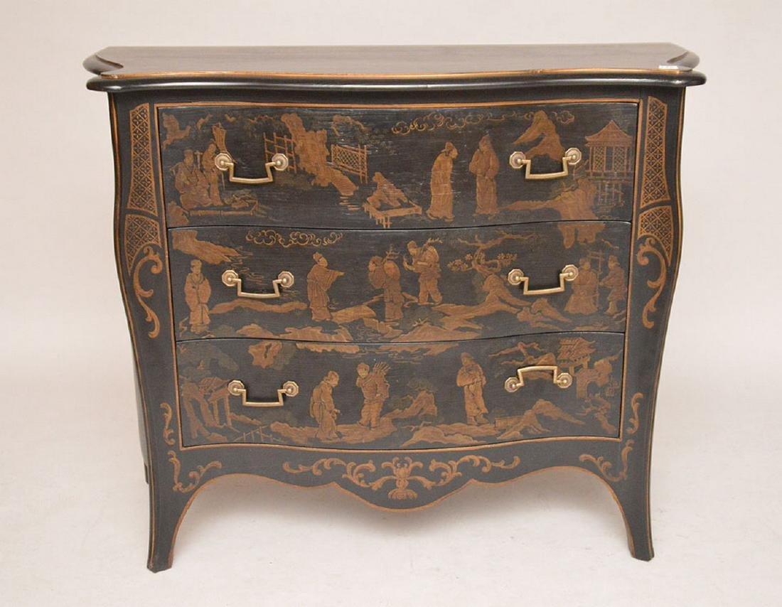 "Black 3 drawer serpentine chest Asian motif, 32""h x 40"