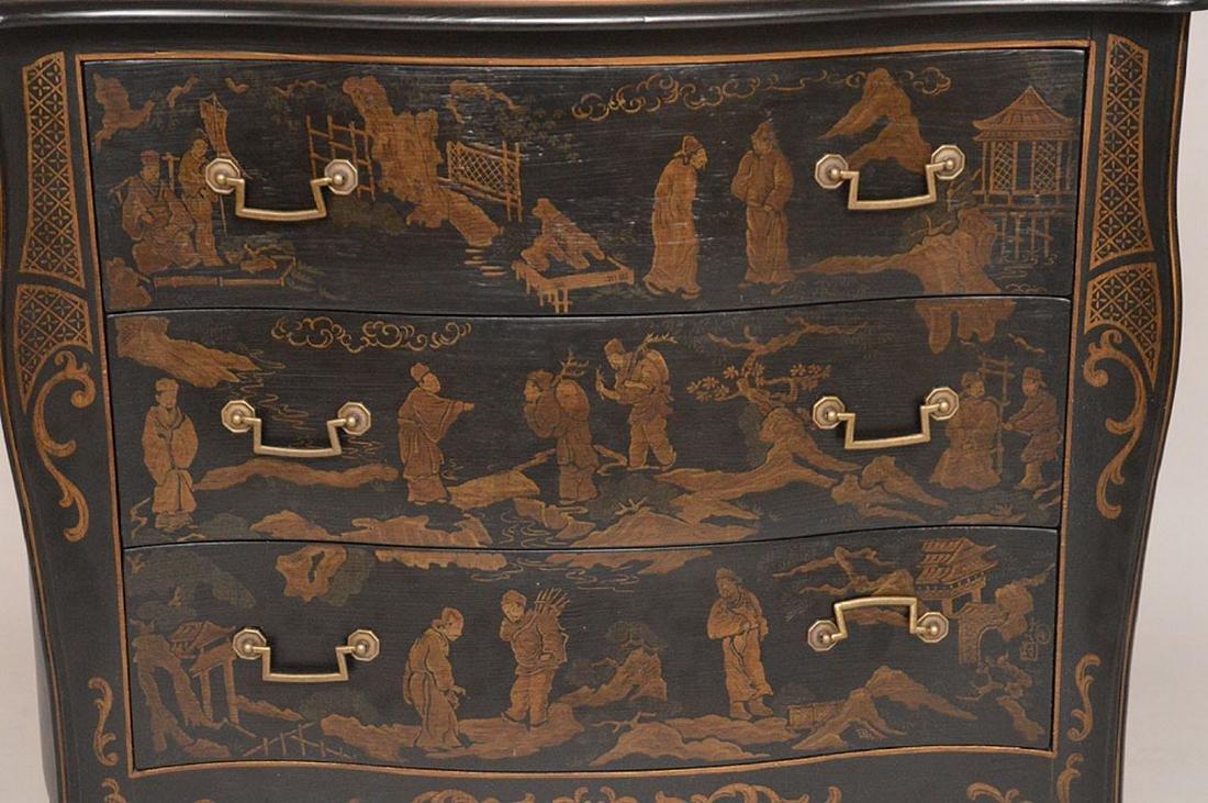 "Black 3 drawer serpentine chest Asian motif, 32""h x 40 - 2"