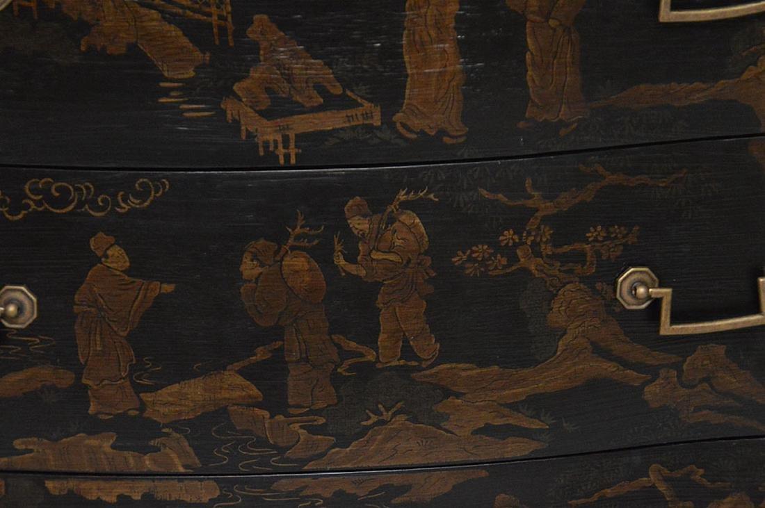 "Black 3 drawer serpentine chest Asian motif, 32""h x 40 - 3"