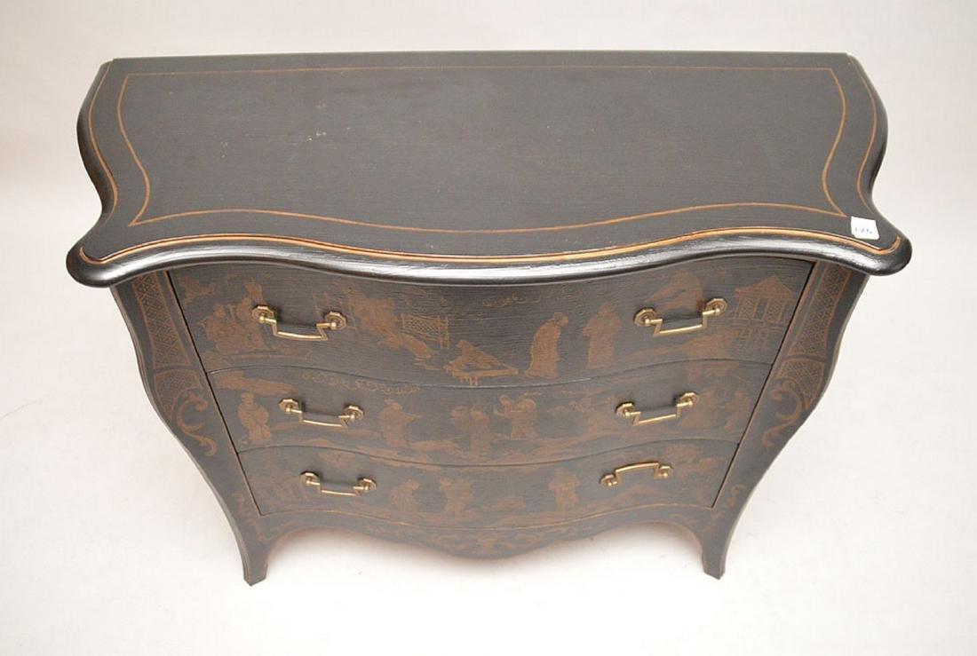 "Black 3 drawer serpentine chest Asian motif, 32""h x 40 - 4"