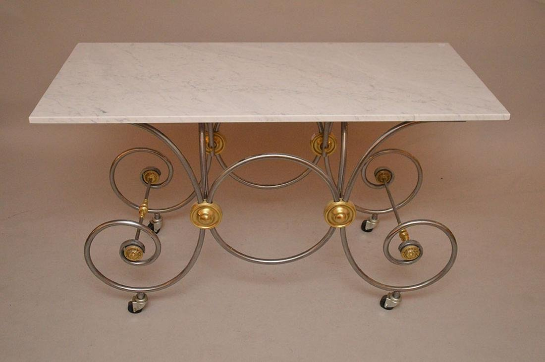 French pastry moving table with Carrera marble top, 30 - 3