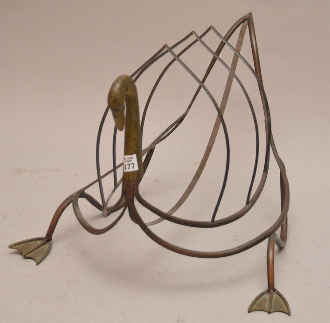 "Brass swan form magazine rack, 15 1/2""h x 24""L"