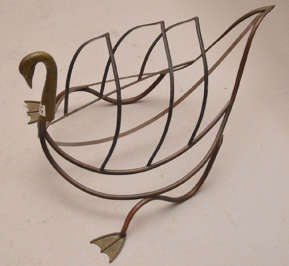 "Brass swan form magazine rack, 15 1/2""h x 24""L - 2"