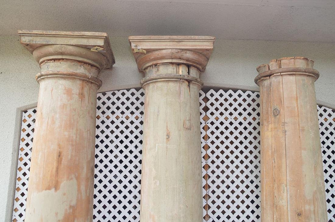 3 architectural wood columns - 3