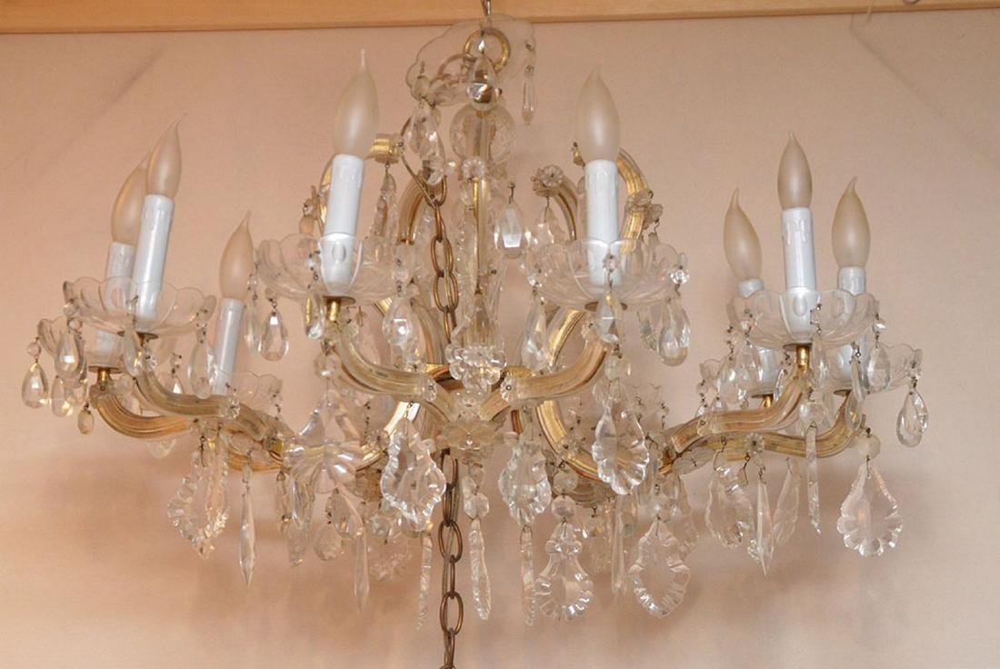 "10 light crystal chandelier, 20""h x 24""w"