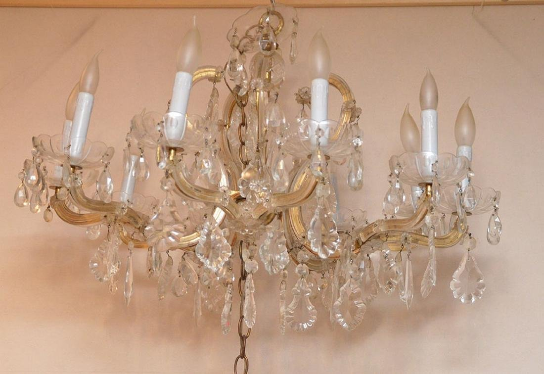 "10 light crystal chandelier, 20""h x 24""w - 4"