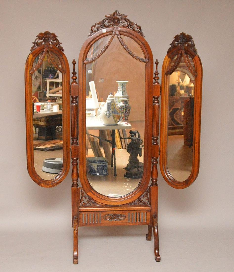 "Cheval mahogany mirror with folding side mirrors, 78""h"