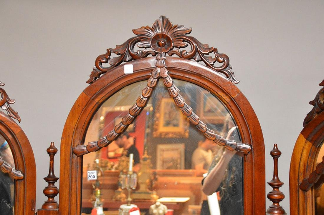 "Cheval mahogany mirror with folding side mirrors, 78""h - 3"