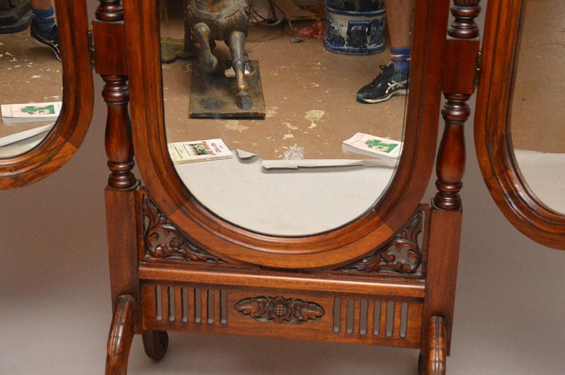 "Cheval mahogany mirror with folding side mirrors, 78""h - 5"