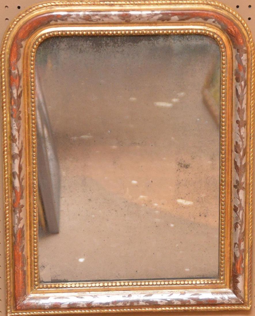 "19th c. arched beaded gilt framed mirror, 27""h x 21""w"