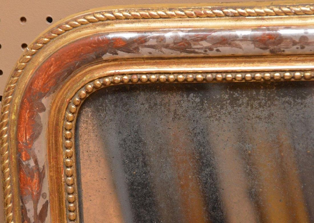 "19th c. arched beaded gilt framed mirror, 27""h x 21""w - 2"
