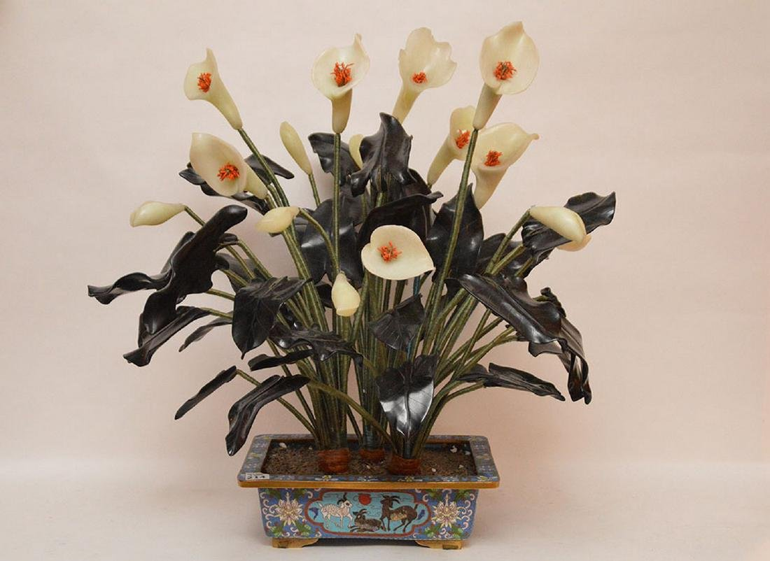 "Jade ""Jack in The Pulpit"" tree in cloisonné planter,"